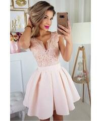 Bicotone Dámské společenské šaty s krátkým rukávkem a se skládanou sukní a  páskem 947efba972