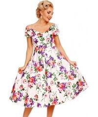 DOLLY AND DOTTY Dámské retro šaty Lily s květinami bílé bdf95ef547e
