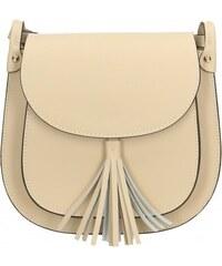Kožená luxusní menší béžová crossbody kabelka do ruky Zoe VERA PELLE ... 58d4a64b076