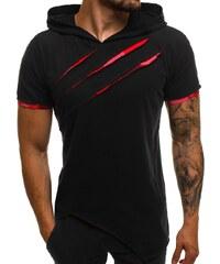 Černo-červené asymetrické tričko pánské OZONEE A 1185 71dc665d61