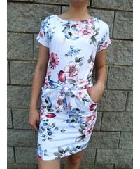 Letní květované šaty bílé s mašlí 91c16f9309