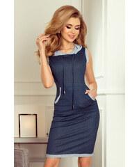 aea8e64c0755 numoco Dámské šaty ve tmavě modré džínové barvě s kapucí a klokaní kapsou  202-3