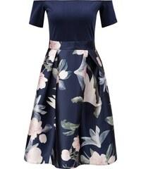 Tmavomodré šaty s kvetovanou sukňou AX Paris ff271f50faa