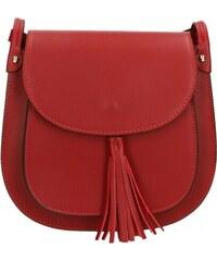 Kožená větší tmavší červená crossbody kabelka na rameno bella VERA PELLE  21986 58efada39a1