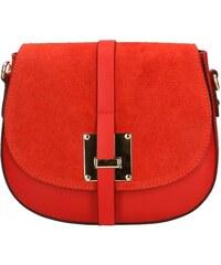 Kožená větší červená crossbody kabelka na rameno jordane VERA PELLE 21986 a5ac76ff1a2