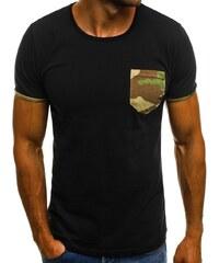 Trendi fekete póló terepmintás zsebbel OZONEE O 1178 7d79696e6f