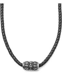 Fort Tempus Černý kožený náhrdelník s motivem lebek df95b941418