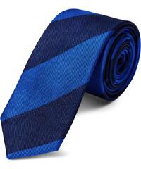 6ce829d4be0 TND Basics Královsky modrá a navy hedvábná 6cm pruhovaná kravata