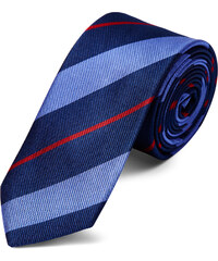 6d4950c4fc1 TND Basics Pastelově modrá a červená pruhovaná navy hedvábná kravata 6 cm