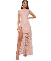 fac177229aa6 PRETTYLITTLETHING Krajkové maxi šaty s hlubokým rozparkem