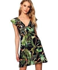 BOOHOO Skater šaty Zahra s volány a floral potiskem 9bd2be1788