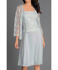 41a8ff212e55 Glamor Krátke sivé spoločenské šaty s čipkovaným kabátikom