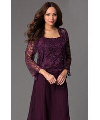 836b56c6f71a Glamor Krátke fialové spoločenské šaty s čipkovaným kabátikom