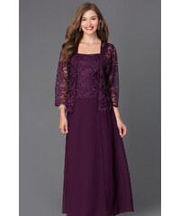 Glamor Dlhé fialové spoločenské šaty s čipkovaným kabátikom 54d16afacda