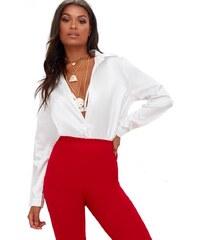 PRETTYLITTLETHING Košile v bílém saténovém designu ac51d73232