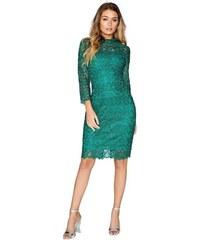 LITTLE MISTRESS Čipkované midi šaty v zelenom odtieni 87ebd364f85