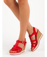 Červené letní elegantní dámské sandály - Glami.cz 36023eea65
