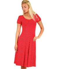 63074d9c9761 Glara Bodkované červené dámske retro šaty