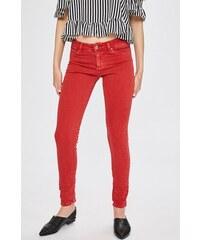 e0a4bc7beeb Červené dámské džíny