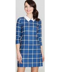 7712094191dc LENITIF Tmavo modré Kárované šaty K424
