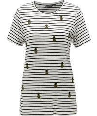 Čierno–biele pruhované dlhé tričko s výšivkami Dorothy Perkins Tall a8693e874a3