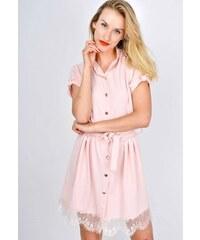 The SHE Púdrově ružové košilové šaty s krajkou b3d16db36f