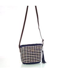 150b7c13e Dámska taška cez rameno zo syntetickej rafie Kbas so strapcom a koženým  popruhom modrá 327801AZ