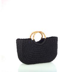 f55dd46079 Dámska pletená taška zo syntetickej rafie Kbas čierna 318814N