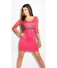 Strikingstyle Elegantné šaty s čipkou a kamienkami   cyklamenové 9b4ae22bbf7