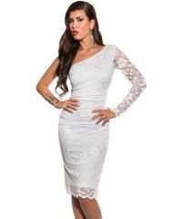 Strikingstyle Midi šaty na jedno rameno   biele f476ebcbe2a