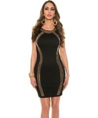 3e4fb601647e Strikingstyle Elegantné púzdrové šaty s ozdobnou aplikáciou   čierne