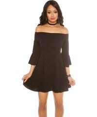 ce135be8319b Strikingstyle Šaty s odhalenými ramenami a rozšírenými rukávmi   čierne