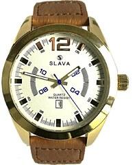 Pánské masivní hodinky SLAVA s hořčičně-hnědým textilním řemínkem bece03fa2f