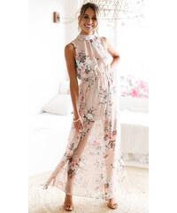 27bcbcd4696 LM moda A Dlouhé letní šaty béžové 5136-0
