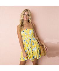 LM moda A Letní šaty k moři žluté s květy 8690-1 fa3768e02d
