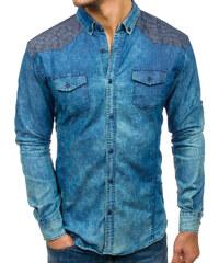 8629c7d3417 Modrá pánská vzorovaná košile s dlouhým rukávem Bolf 0517