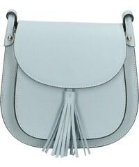 Kožená větší sivá crossbody kabelka cez rameno bella VERA PELLE ... 82196c3d5ab