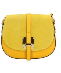 Kožená větší žltá crossbody kabelka cez rameno bella VERA PELLE 7b9ca31bf63