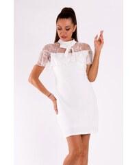 SOKY SOKA Dámské společenské šaty SOKY SOKA Bow bílé - bílá 63fd69e84a