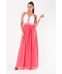EVA LOLA Dámské společenské večerní šaty EVA LOLA růžové - červená 4d92d4810d