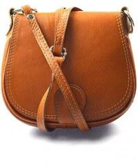 kožená menší koňaková hnědá crossbody kabelka na rameno Lundy VERA PELLE  34057 23717f6a936