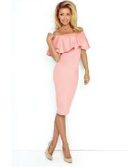 Numoco Šaty s volánkem pastelově růžové f2be0e8f39