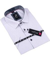 fbb54d23a70 Šedá pánská košile krátký rukáv vypasovaný střih Brighton 109822