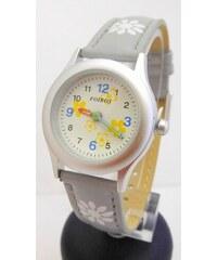 Šedivé dívčí dětské hodinky Foibos 1567.6 s barevnými motivy 7ed97554862