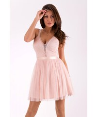 Lily McBee Dámské společenské šaty Lily McBee Ribbon růžové - růžová 06659ddabf9