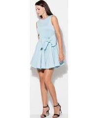 4a382982039b KATRUS Dámske elegantné modré šaty s mašľou v páse K271 Blue