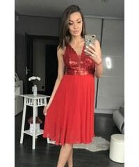 PINK BOOM Dámské společenské šaty PINK BOOM Shiny červené - červená fb8cfbe90a