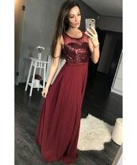 EVA LOLA Dámské společenské šaty EVA LOLA Gloss vínové - eggplant 2abf449f38