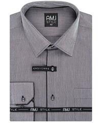 c23a832ea7ba Pánská košile s dlouhým rukávem AMJ Style VDR 929 černošedá