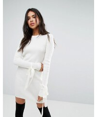 Boohoo basic tie cuff bardot knitted mini dress in cream - Cream 85d6f72aec7